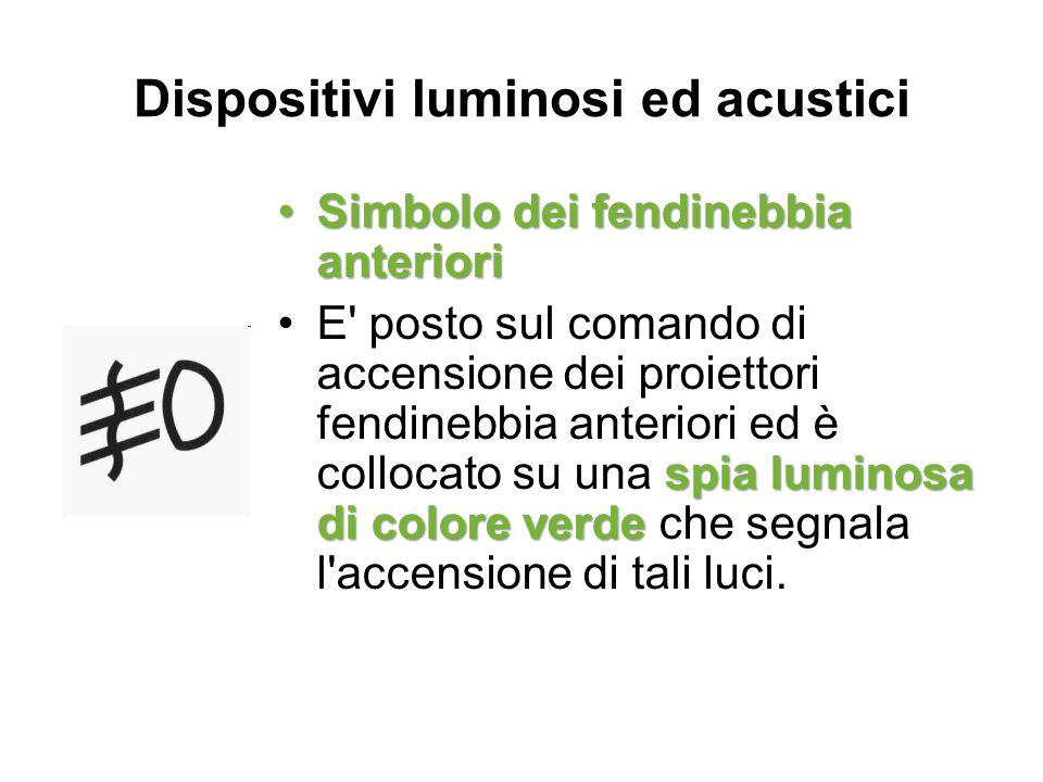 Dispositivi luminosi ed acustici Simbolo dei fendinebbia anterioriSimbolo dei fendinebbia anteriori spia luminosa di colore verdeE' posto sul comando