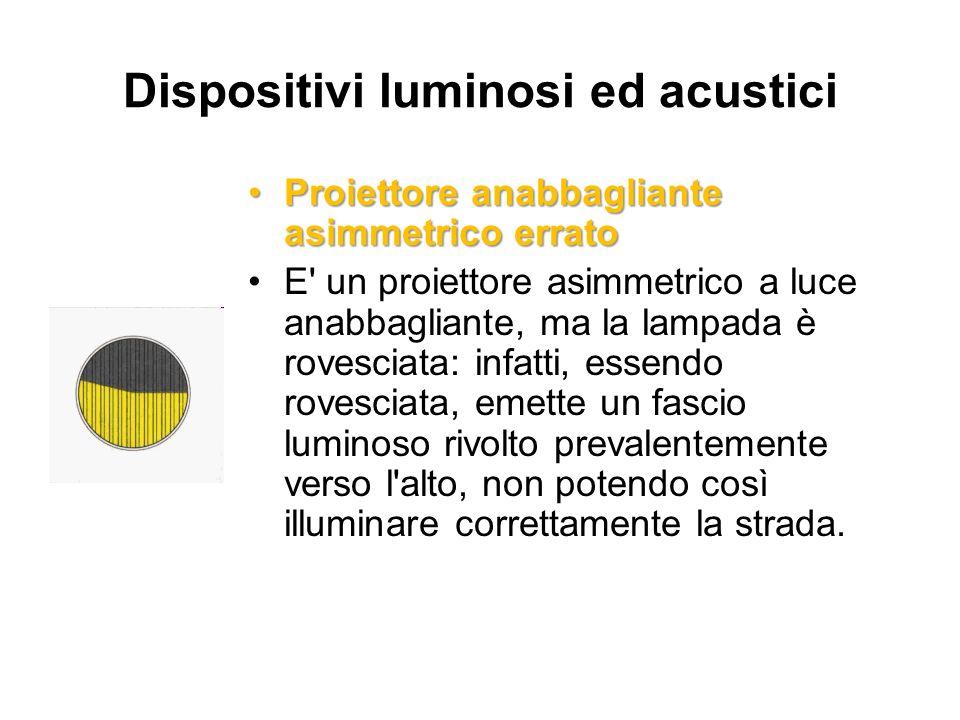 Dispositivi luminosi ed acustici Proiettore anabbagliante asimmetrico erratoProiettore anabbagliante asimmetrico errato E' un proiettore asimmetrico a