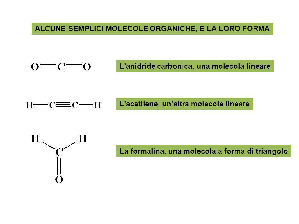 ALCUNE SEMPLICI MOLECOLE ORGANICHE, E LA LORO FORMA Lacetilene, unaltra molecola lineare Lanidride carbonica, una molecola lineare La formalina, una m