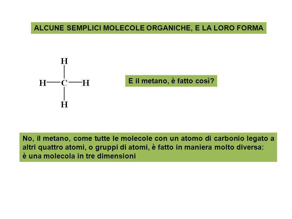 ALCUNE SEMPLICI MOLECOLE ORGANICHE, E LA LORO FORMA E il metano, è fatto così? No, il metano, come tutte le molecole con un atomo di carbonio legato a