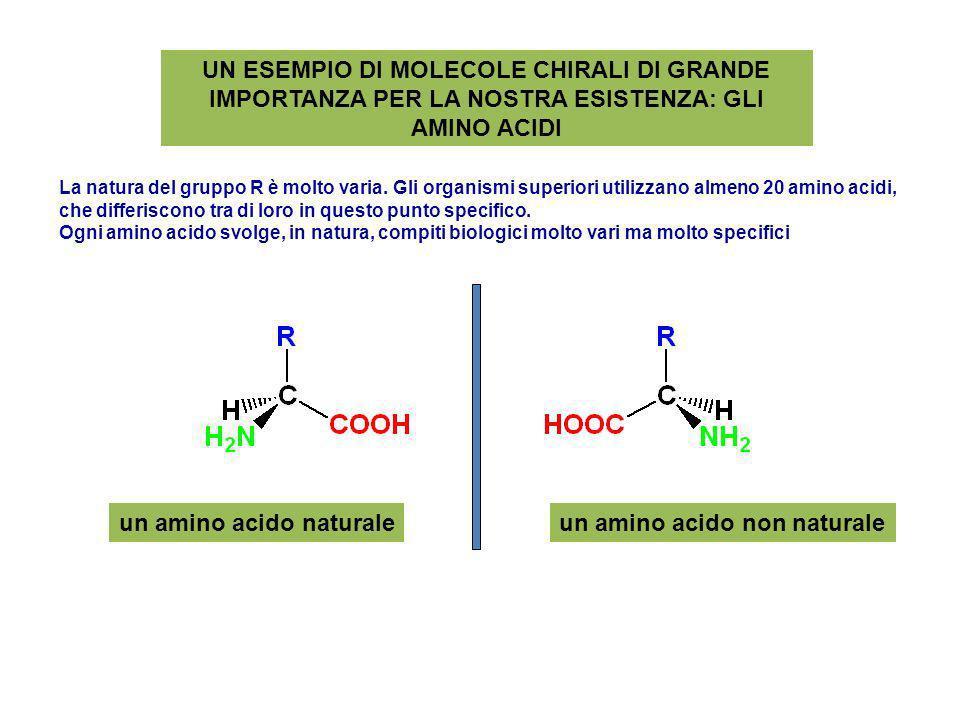 UN ESEMPIO DI MOLECOLE CHIRALI DI GRANDE IMPORTANZA PER LA NOSTRA ESISTENZA: GLI AMINO ACIDI un amino acido naturaleun amino acido non naturale La nat