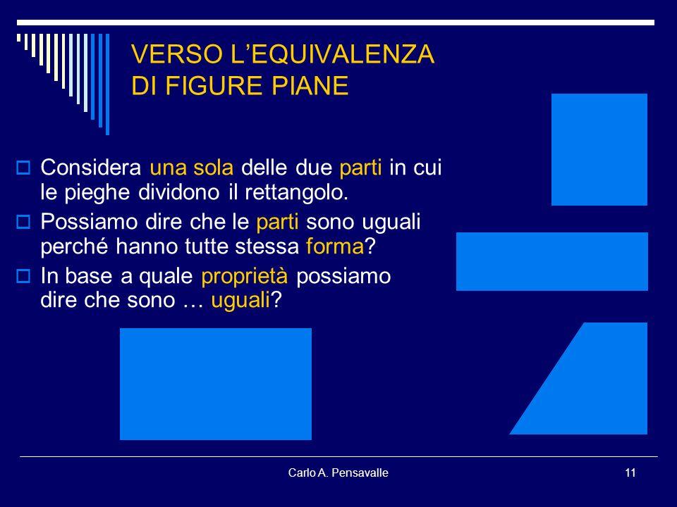 Carlo A. Pensavalle11 VERSO LEQUIVALENZA DI FIGURE PIANE Considera una sola delle due parti in cui le pieghe dividono il rettangolo. Possiamo dire che