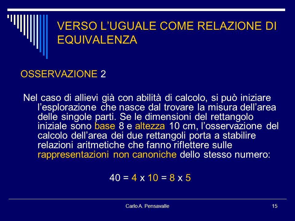 Carlo A. Pensavalle15 VERSO LUGUALE COME RELAZIONE DI EQUIVALENZA OSSERVAZIONE 2 Nel caso di allievi già con abilità di calcolo, si può iniziare lespl