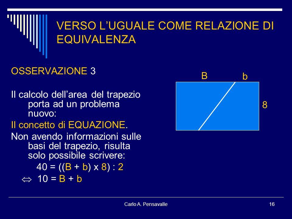 Carlo A. Pensavalle16 VERSO LUGUALE COME RELAZIONE DI EQUIVALENZA OSSERVAZIONE 3 Il calcolo dellarea del trapezio porta ad un problema nuovo: Il conce