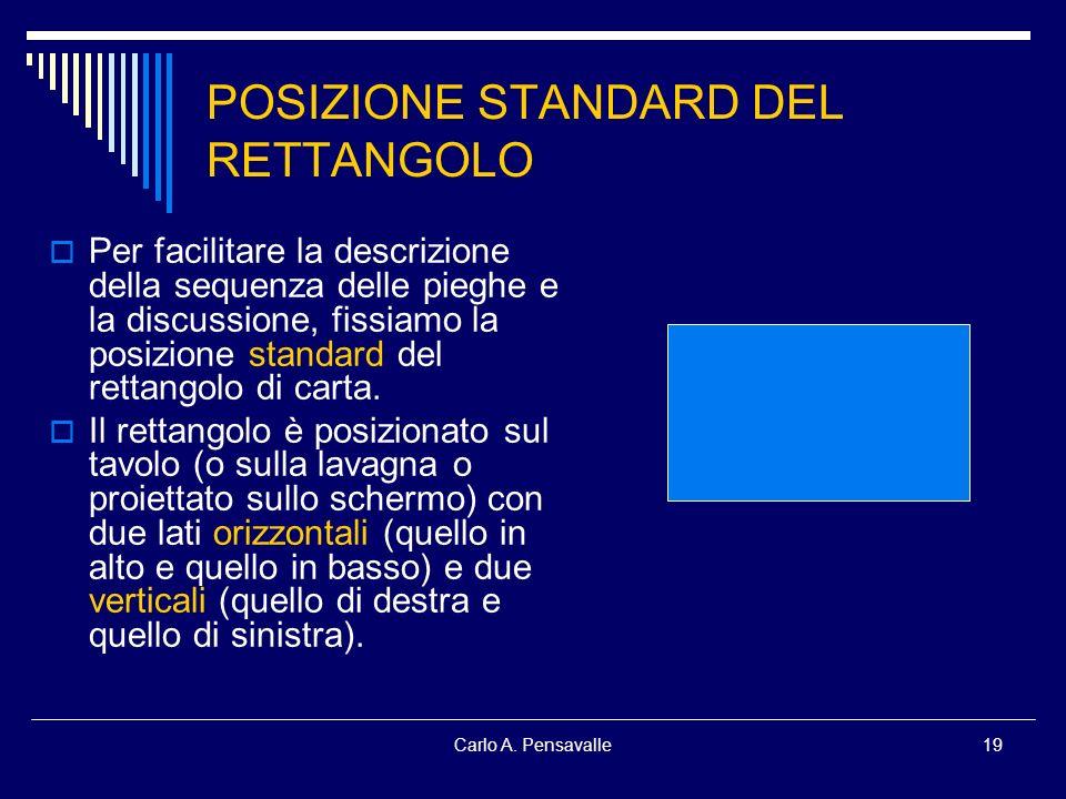 Carlo A. Pensavalle19 POSIZIONE STANDARD DEL RETTANGOLO Per facilitare la descrizione della sequenza delle pieghe e la discussione, fissiamo la posizi