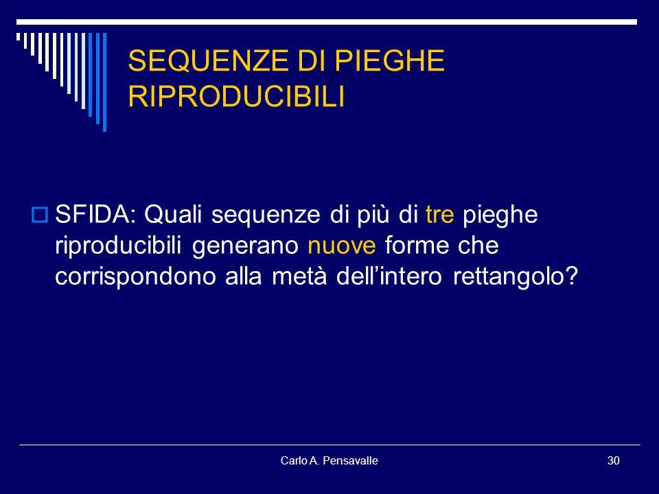 Carlo A. Pensavalle30 SEQUENZE DI PIEGHE RIPRODUCIBILI SFIDA: Quali sequenze di più di tre pieghe riproducibili generano nuove forme che corrispondono