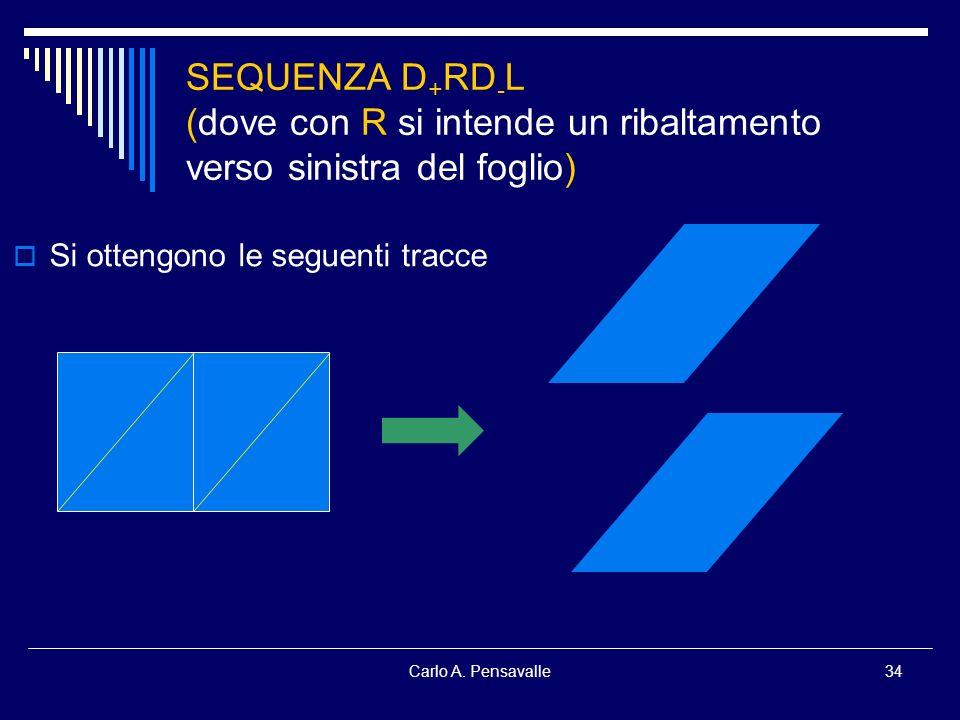 Carlo A. Pensavalle34 SEQUENZA D + RD - L (dove con R si intende un ribaltamento verso sinistra del foglio) Si ottengono le seguenti tracce