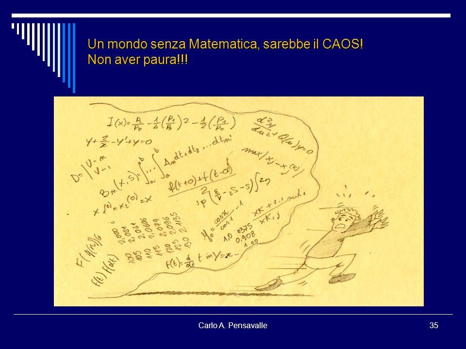 Carlo A. Pensavalle35 Un mondo senza Matematica, sarebbe il CAOS! Non aver paura!!!