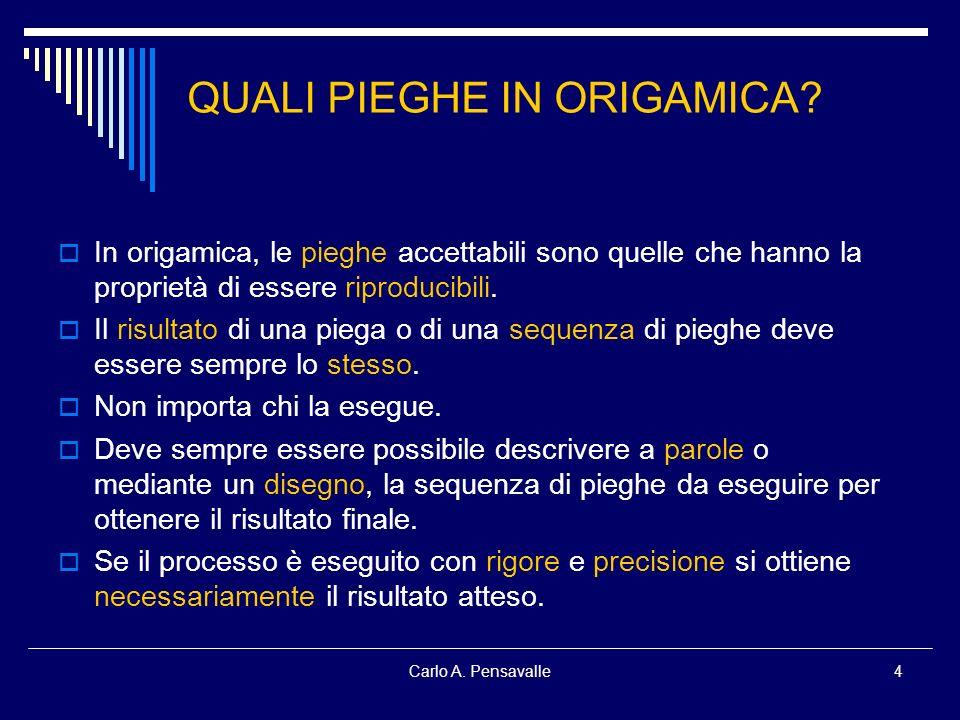 Carlo A. Pensavalle4 QUALI PIEGHE IN ORIGAMICA? In origamica, le pieghe accettabili sono quelle che hanno la proprietà di essere riproducibili. Il ris