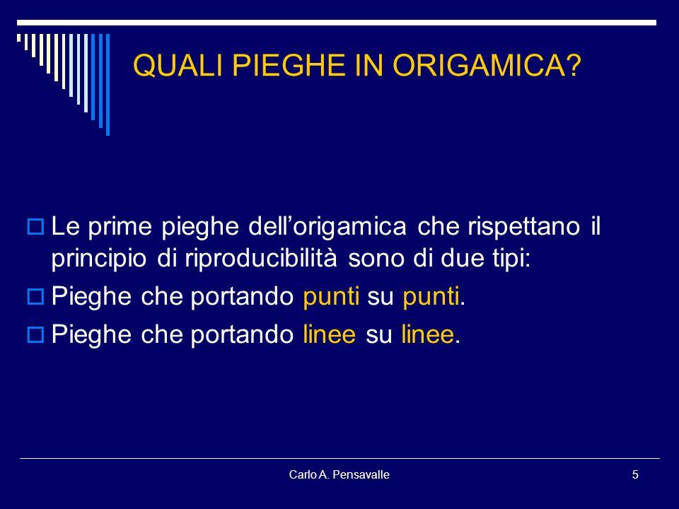 Carlo A. Pensavalle5 Le prime pieghe dellorigamica che rispettano il principio di riproducibilità sono di due tipi: Pieghe che portando punti su punti