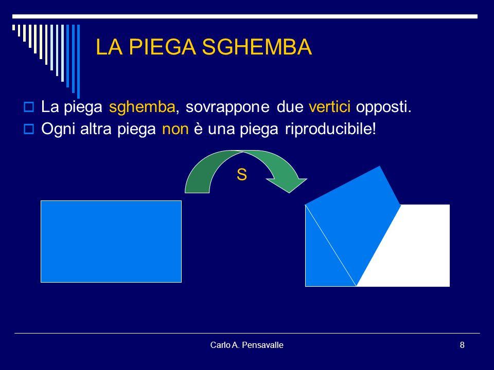 Carlo A. Pensavalle8 LA PIEGA SGHEMBA La piega sghemba, sovrappone due vertici opposti. Ogni altra piega non è una piega riproducibile! S