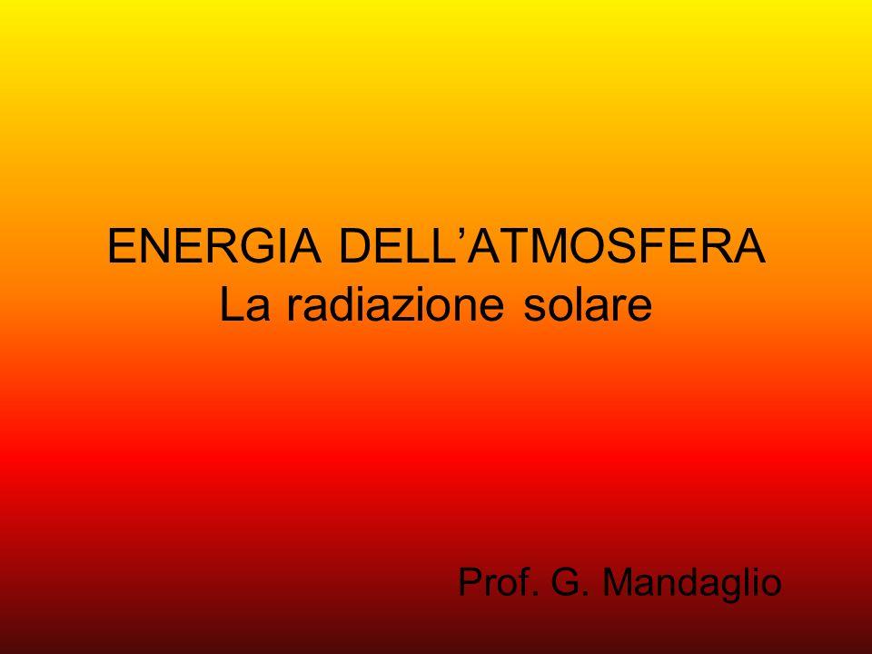 È dal Sole che proviene la quasi totalità dellenergia che la natura sfrutta nella maggior parte dei processi fisici e chimici, compresi quelli che avvengono nellatmosfera.