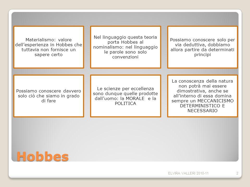 Hobbes Materialismo: valore dellesperienza in Hobbes che tuttavia non fornisce un sapere certo Nel linguaggio questa teoria porta Hobbes al nominalism