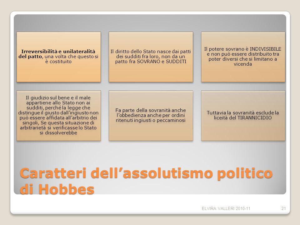 Caratteri dellassolutismo politico di Hobbes Irreversibilità e unilateralità del patto, una volta che questo si è costituito Il diritto dello Stato na