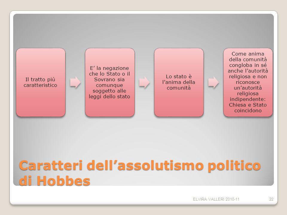 Caratteri dellassolutismo politico di Hobbes Il tratto più caratteristico E la negazione che lo Stato o il Sovrano sia comunque soggetto alle leggi de
