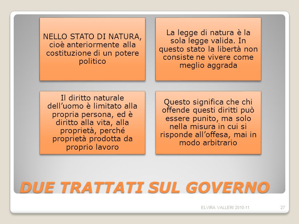 DUE TRATTATI SUL GOVERNO NELLO STATO DI NATURA, cioè anteriormente alla costituzione di un potere politico La legge di natura è la sola legge valida.