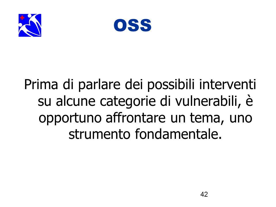 42 OOSSSS Prima di parlare dei possibili interventi su alcune categorie di vulnerabili, è opportuno affrontare un tema, uno strumento fondamentale.