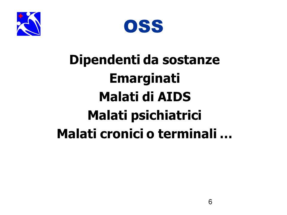 6 OSS Dipendenti da sostanze Emarginati Malati di AIDS Malati psichiatrici Malati cronici o terminali …