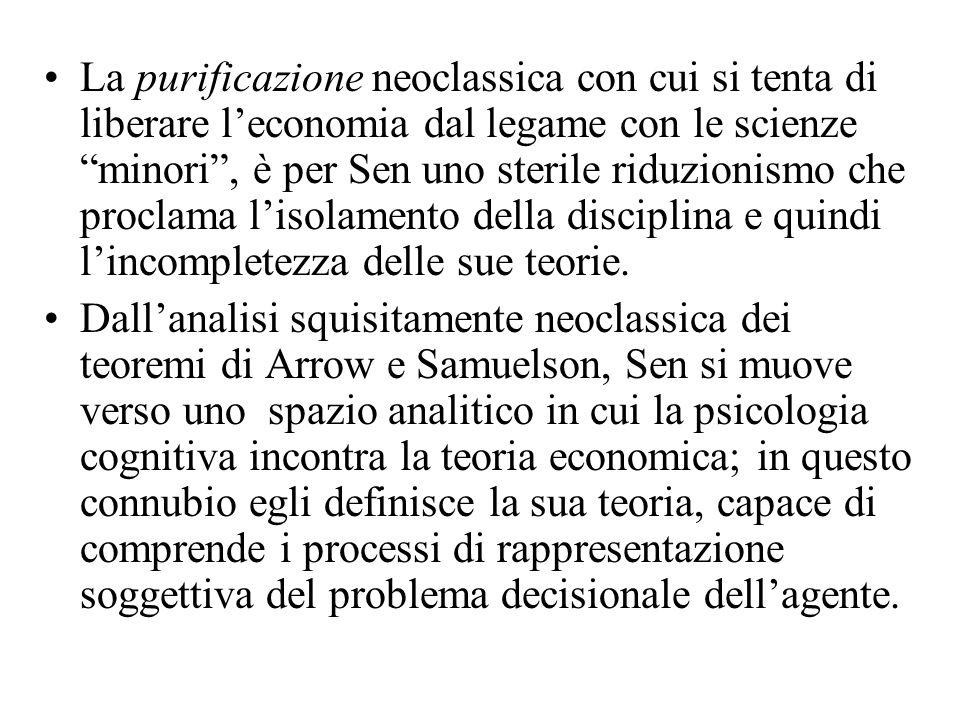La purificazione neoclassica con cui si tenta di liberare leconomia dal legame con le scienze minori, è per Sen uno sterile riduzionismo che proclama