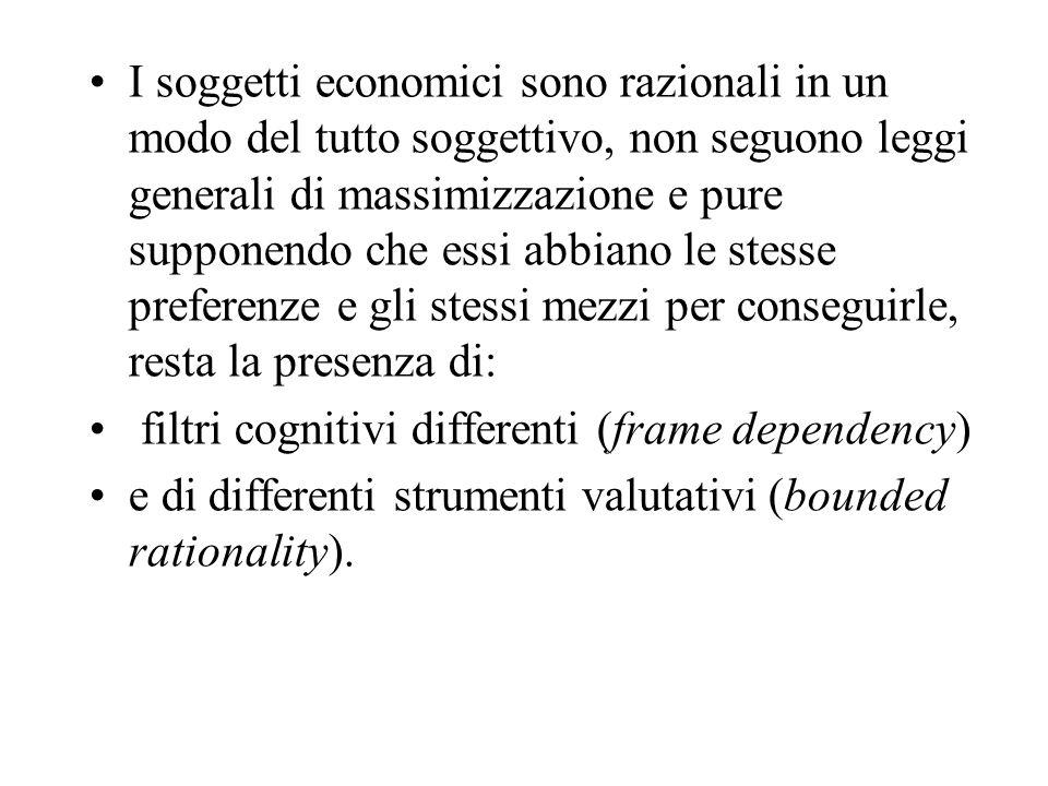 I soggetti economici sono razionali in un modo del tutto soggettivo, non seguono leggi generali di massimizzazione e pure supponendo che essi abbiano