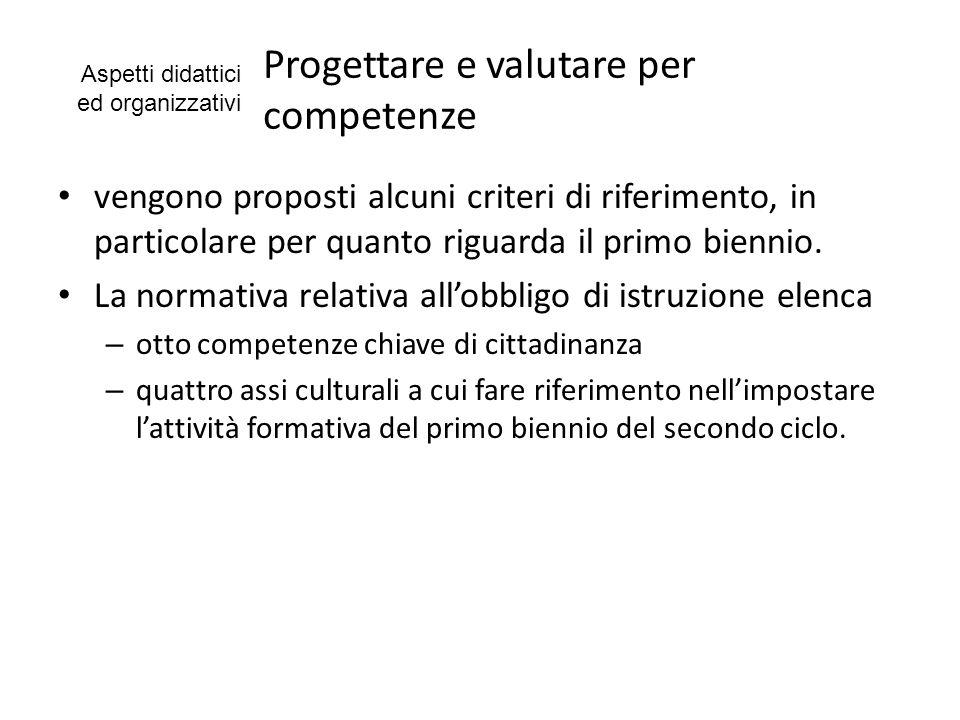 Progettare e valutare per competenze vengono proposti alcuni criteri di riferimento, in particolare per quanto riguarda il primo biennio. La normativa