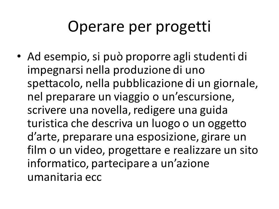 Operare per progetti Ad esempio, si può proporre agli studenti di impegnarsi nella produzione di uno spettacolo, nella pubblicazione di un giornale, n