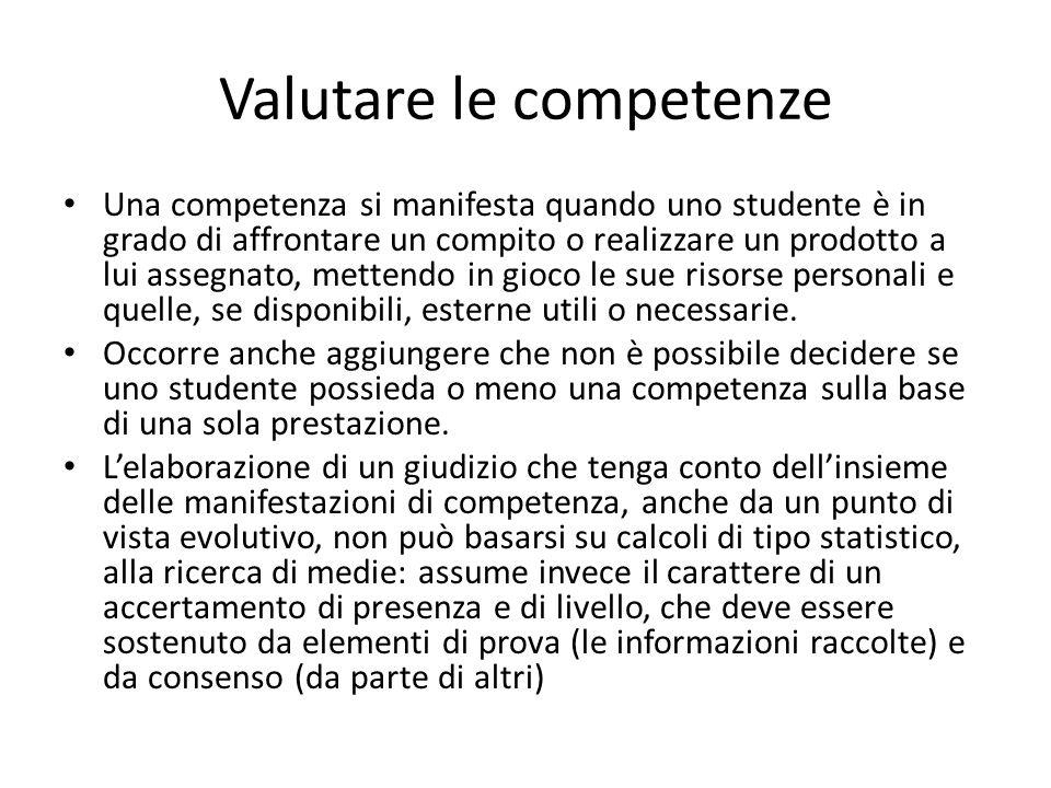 Valutare le competenze Una competenza si manifesta quando uno studente è in grado di affrontare un compito o realizzare un prodotto a lui assegnato, m