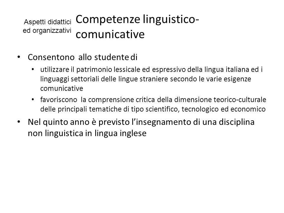 Competenze linguistico- comunicative Consentono allo studente di utilizzare il patrimonio lessicale ed espressivo della lingua italiana ed i linguaggi