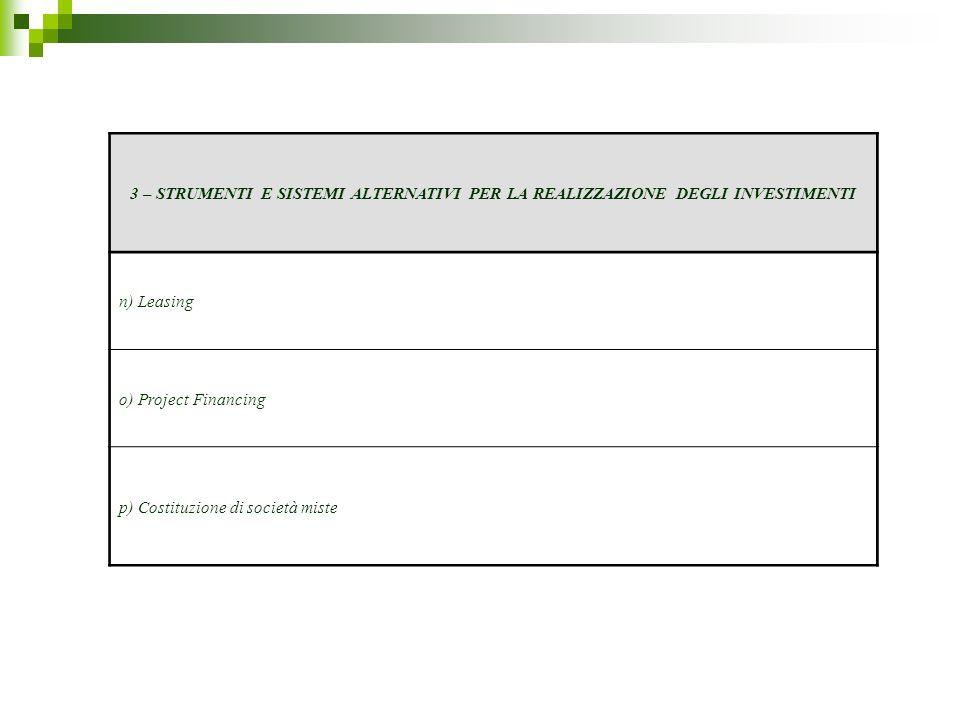 3 – STRUMENTI E SISTEMI ALTERNATIVI PER LA REALIZZAZIONE DEGLI INVESTIMENTI n) Leasing o) Project Financing p) Costituzione di società miste