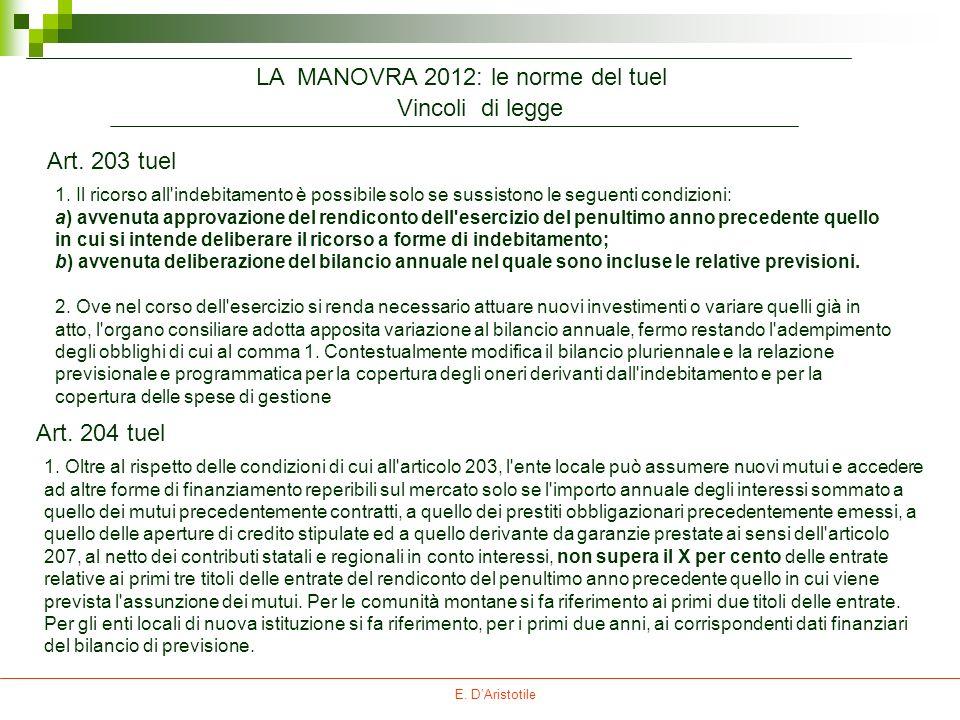E. DAristotile Vincoli di legge Art. 204 tuel 1. Oltre al rispetto delle condizioni di cui all'articolo 203, l'ente locale può assumere nuovi mutui e
