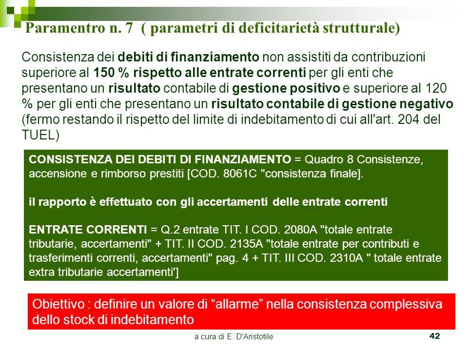 a cura di E. D'Aristotile42 Paramentro n. 7 ( parametri di deficitarietà strutturale) Consistenza dei debiti di finanziamento non assistiti da contrib