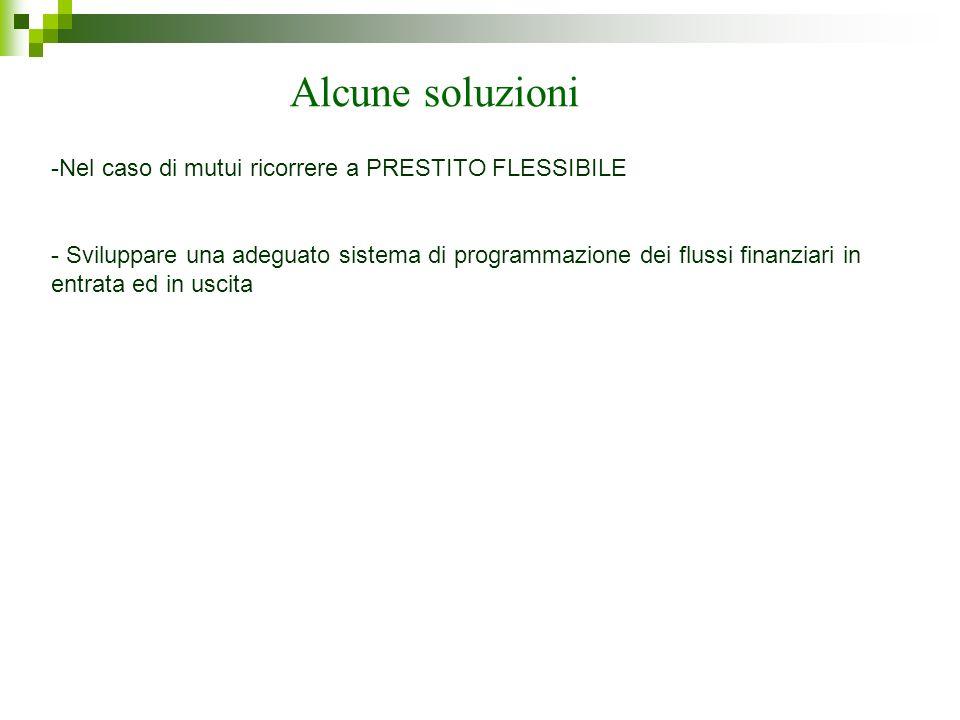 Alcune soluzioni -Nel caso di mutui ricorrere a PRESTITO FLESSIBILE - Sviluppare una adeguato sistema di programmazione dei flussi finanziari in entra