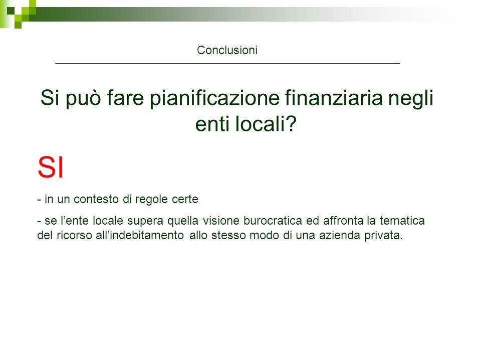 Si può fare pianificazione finanziaria negli enti locali? Conclusioni SI - in un contesto di regole certe - se lente locale supera quella visione buro