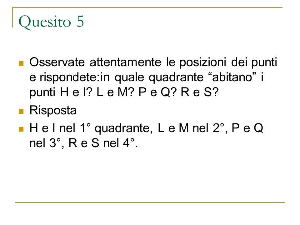 Quesito 5 Osservate attentamente le posizioni dei punti e rispondete:in quale quadrante abitano i punti H e I? L e M? P e Q? R e S? Risposta H e I nel