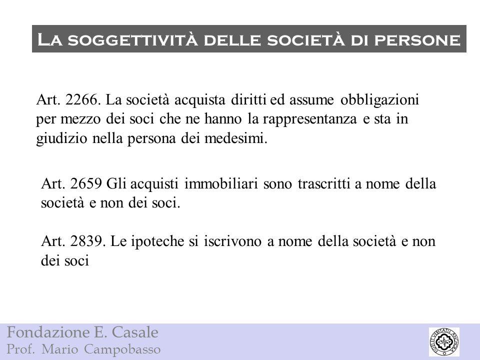Fondazione E. Casale Prof. Mario Campobasso La soggettività delle società di persone Art. 2266. La società acquista diritti ed assume obbligazioni per
