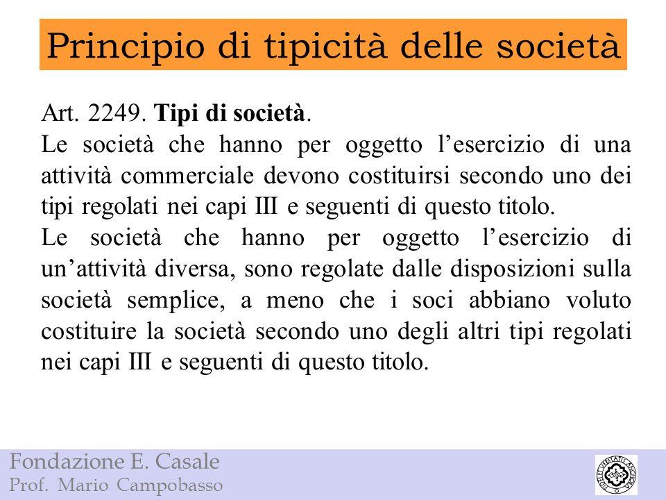 Fondazione E. Casale Prof. Mario Campobasso Principio di tipicità delle società Art. 2249. Tipi di società. Le società che hanno per oggetto lesercizi