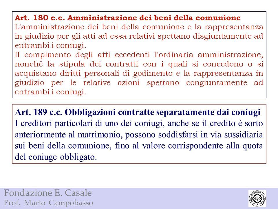 Fondazione E. Casale Prof. Mario Campobasso Art. 180 c.c. Amministrazione dei beni della comunione L'amministrazione dei beni della comunione e la rap