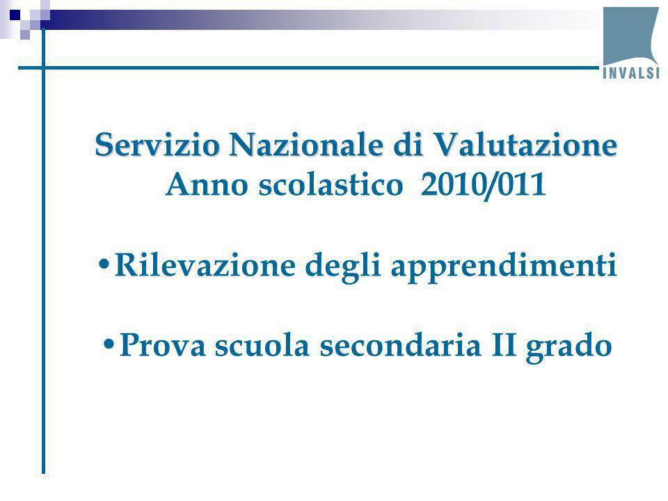 Servizio Nazionale di Valutazione Anno scolastico 2010/011 Rilevazione degli apprendimenti Prova scuola secondaria II grado