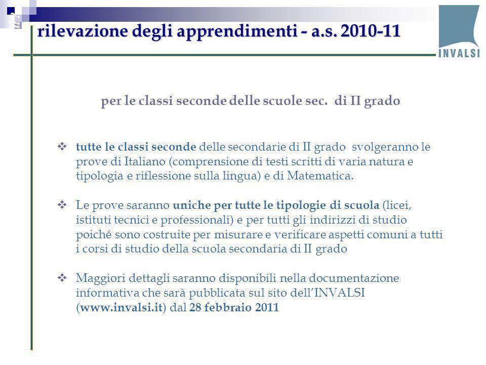 rilevazione degli apprendimenti - a.s. 2010-11 Perché valutare le ricadute di PON M@t.abel sugli studenti ? per le classi seconde delle scuole sec. di