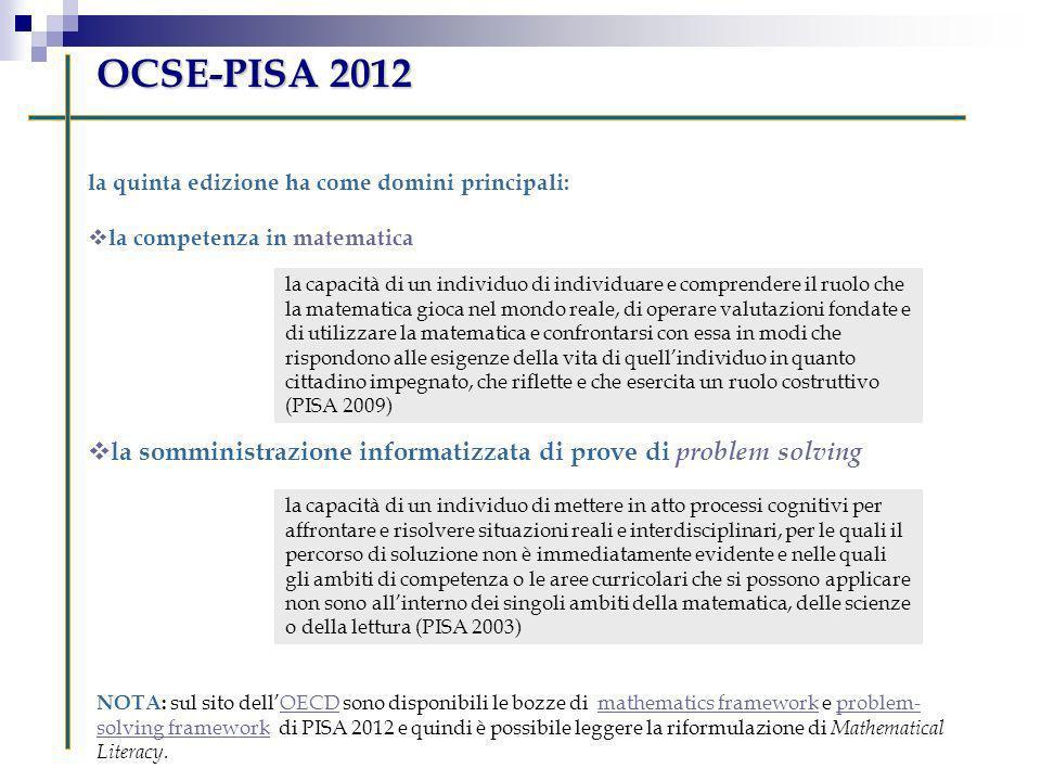la quinta edizione ha come domini principali: la competenza in matematica la somministrazione informatizzata di prove di problem solving OCSE-PISA 201