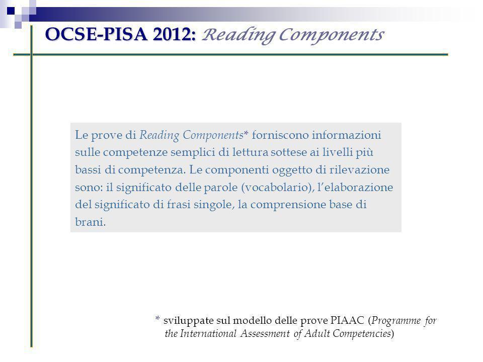 Le prove di Reading Components * forniscono informazioni sulle competenze semplici di lettura sottese ai livelli più bassi di competenza. Le component