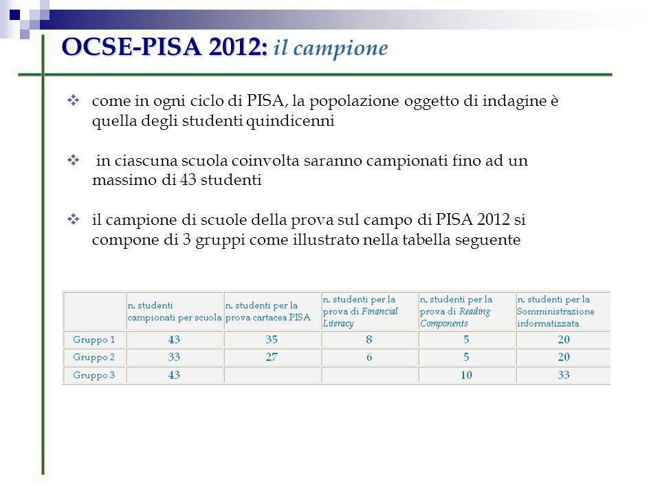 OCSE-PISA 2012: OCSE-PISA 2012: il campione come in ogni ciclo di PISA, la popolazione oggetto di indagine è quella degli studenti quindicenni in cias