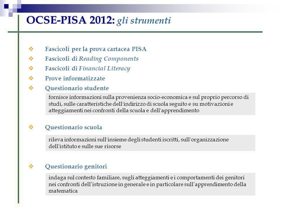 OCSE-PISA 2012: OCSE-PISA 2012: gli strumenti Fascicoli per la prova cartacea PISA Fascicoli di Reading Components Fascicoli di Financial Literacy Pro
