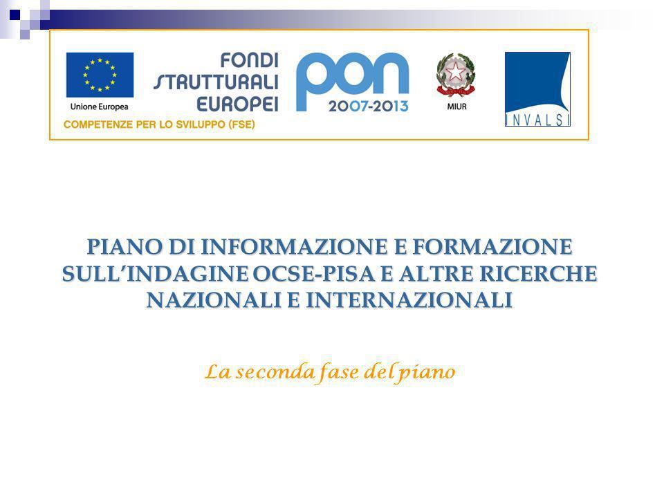PIANO DI INFORMAZIONE E FORMAZIONE SULLINDAGINE OCSE-PISA E ALTRE RICERCHE NAZIONALI E INTERNAZIONALI La seconda fase del piano