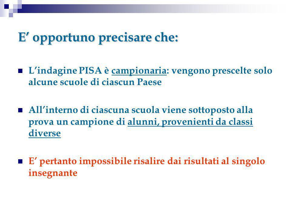E opportuno precisare che: Lindagine PISA è campionaria: vengono prescelte solo alcune scuole di ciascun Paese Allinterno di ciascuna scuola viene sot