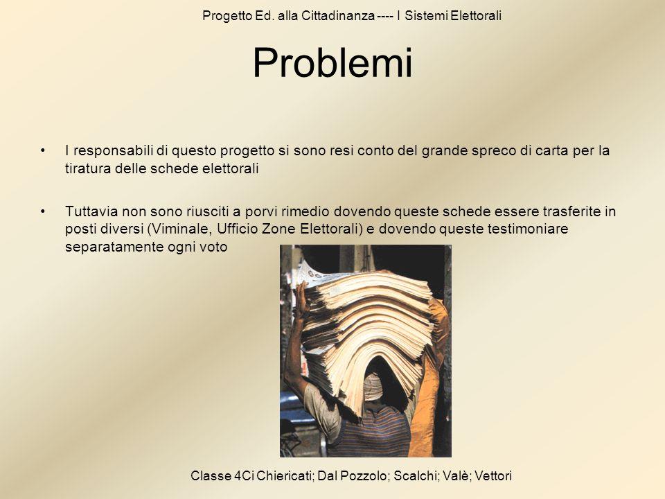 Progetto Ed. alla Cittadinanza ---- I Sistemi Elettorali Classe 4Ci Chiericati; Dal Pozzolo; Scalchi; Valè; Vettori Problemi I responsabili di questo