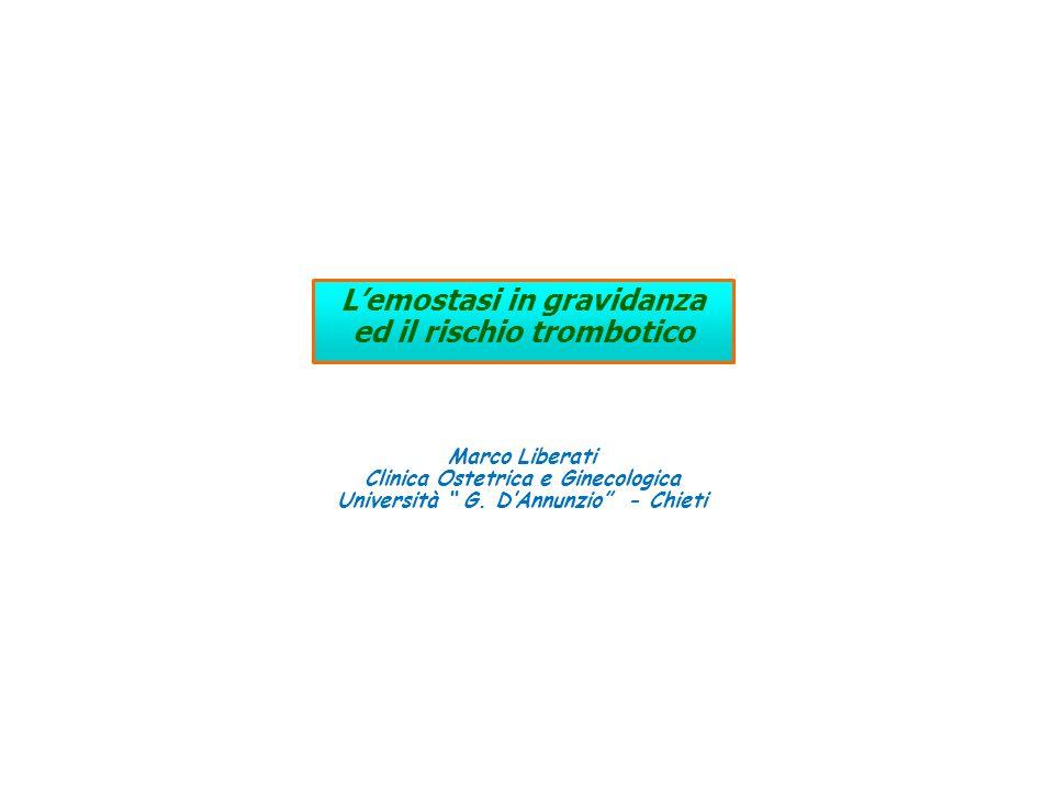 Sistema emostatico in gravidanza Aumento attività sistema procoagulante Riduzione attività sistema fibrinolitico Riduzione attività sistema anticoagulante