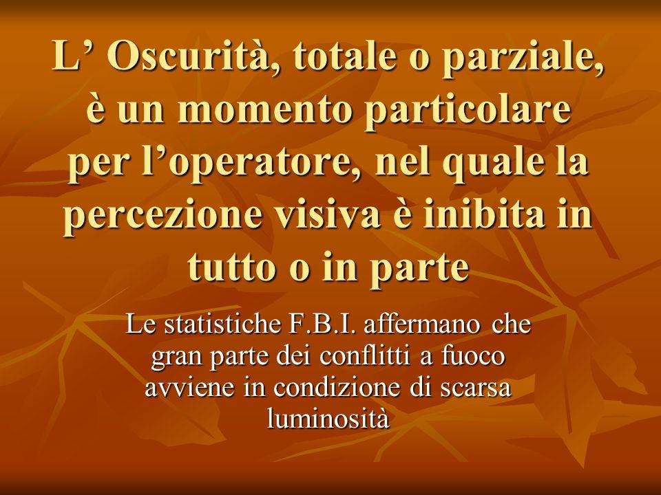 L Oscurità, totale o parziale, è un momento particolare per loperatore, nel quale la percezione visiva è inibita in tutto o in parte Le statistiche F.