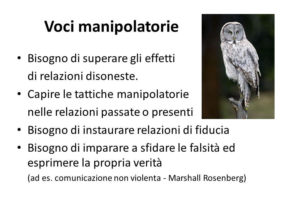 Voci manipolatorie Bisogno di superare gli effetti di relazioni disoneste. Capire le tattiche manipolatorie nelle relazioni passate o presenti Bisogno