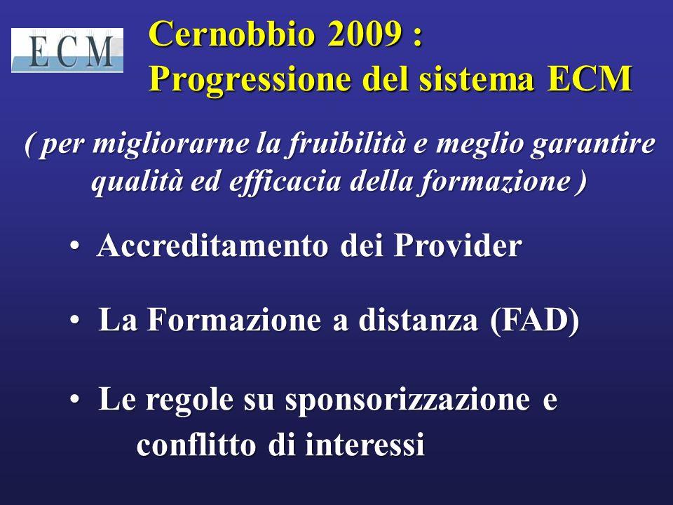 Lofferta ECM complessiva dei Provider deve essere suddivisa per il Target professionale (professionisti della Sanità cui è diretto lECM)